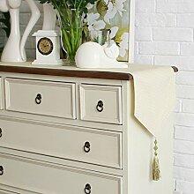 Tabelle runner american country stil tv schrank tisch dekoration tuch quaste luxury beige-A 20x90cm(8x35inch)