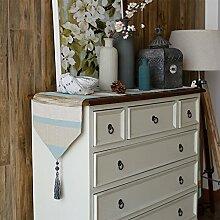 Tabelle runner american country stil tv schrank tisch dekoration tuch quaste streifen-F 20x100cm(8x39inch)
