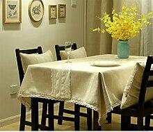 Tabelle Tuch,Tuch Baumwolle Und Leinen Stil Rechteckig Einfache Moderne Tischdecke,Kaffee Tischdecke-D 140x180cm(55x71inch)