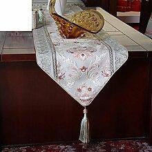 Tabellenfahne Europäische Tischläufer Moderne American Style Luxuriöse Westerntischflagge Tischdecke Tee Tischläufer Bett-runner Betttuch-A 38x220cm(15x87inch)