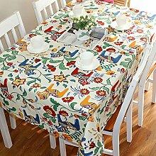 Tabgw Rechteckige Tischdecke Esszimmer Garten Hotel Cafe Restaurant Tisch decken Stoff Baumwolle Cartoon blumig 130 x 180 cm Heimzubehör