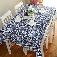 Tabgw Rechteckige Tischdecke Esszimmer Garten Hotel Cafe Restaurant Tisch decken Stoff Baumwolle Cartoon blau Frucht 110 x 110 cm Heimzubehör