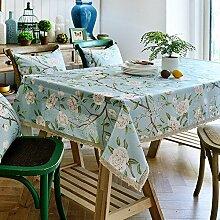 Tabgw Rechteckige Tischdecke Esszimmer Garten Hotel Cafe Restaurant Tisch decken Tuch Baumwolle Spitze weiße Blumen 100 x 130 cm Heimzubehör