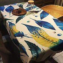 Tabgw Rechteckige Tischdecke Esszimmer Garten Hotel Cafe Restaurant Tisch decken Stoff Baumwolle und Leinen Feder 110 x 170 cm Heimzubehör