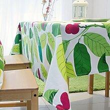 Tabgw Rechteckige Tischdecke Esszimmer Garten Hotel Cafe Restaurant Tisch decken Tuch europäischen Stil grünes Blatt 110 x 170 cm Heimzubehör