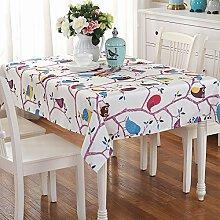 Tabgw Rechteckige Tischdecke Esszimmer Garten Hotel Cafe table cover Tuch im europäischen Stil wasserdicht lila Eule 110x160cm Home Decoration