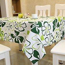 Tabgw Rechteckige Tischdecke Esszimmer Garten Hotel Cafe table cover Tuch einfachen Stil canvas florale Muster grün 90x90cm Home Decoration