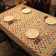 Tabgw Rechteckige Tischdecke Esszimmer Garten Hotel Cafe table cover Tuch American style Retro Linie 90x140cm Home Decoration