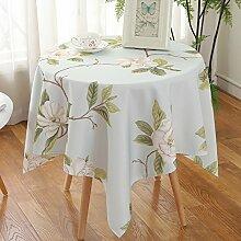 Tabgw Rechteckige Tischdecke Esszimmer Garten Hotel Cafe table cover Tuch im europäischen Stil wasserdicht blaue Orchidee 90x90cm Home Decoration