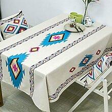 Tabgw Rechteckige Tischdecke Esszimmer Garten Hotel Cafe table cover Tuch Indischen Stil Baumwolle 200x140cm Home Decoration