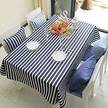 Tabgw Rechteckige Tischdecke Esszimmer Garten Hotel Cafe table cover Tuch europäischen Stil Baumwolle blaue Streifen 130x130cm Home Decoration