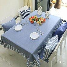 Tabgw Rechteckige Tischdecke Esszimmer Garten Hotel Cafe table cover Tuch europäischen Stil Baumwolle blau 140x190cm Home Decoration