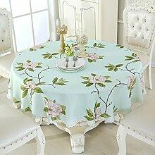 Tabgw Rechteckige Tischdecke Esszimmer Garten Hotel Cafe table cover Tuch europäischen Stil runde Wasserdicht blau 150cm Dekoration