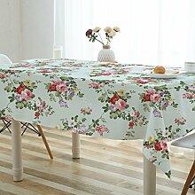 Tabgw Rechteckige Tischdecke Esszimmer Garten Hotel Cafe table cover Tuch einfachen Stil wasserdicht Blumen 130x190cm Home Decoration