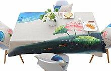 Tabgw Rechteckige Tischdecke Esszimmer Garten Hotel Cafe table cover Tuch Koreanisch klassischen Stil Baumwolle Leinen Blumen 110x170cm Home Decoration