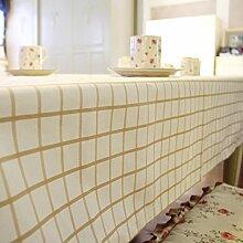 Tabgw Rectangular Tischdecke Esszimmer Garten Hotel Cafe Restaurant Baumwolle Leinen Tischdecke Tischdecke Gelb 140x300 Heimzubehör