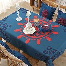 Tabgw Rectangular Tischdecke Esszimmer Garten Hotel Cafe Restaurant Baumwolle und Leinen Tischdecke blau 110x170 cm Heimzubehör