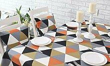 Tabgw Rectangular Tischdecke Esszimmer Garten Hotel Cafe Restaurant Baumwolle Orange 140x240 cm Heimzubehör