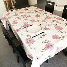 Tabgw Rectangular Tischdecke Esszimmer Garten Hotel Cafe Restaurant Tischdecke wasserdicht rosa Blume 130x180 cm Heimzubehör