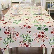 Tabgw Rectangular Tischdecke Esszimmer Garten Hotel Cafe Restaurant Baumwolle Leinen Tischdecke rot 140x260 Heimzubehör