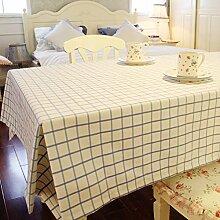 Tabgw Rectangular Tischdecke Esszimmer Garten Hotel Cafe Restaurant Baumwolle Leinen Tischdecke Tischdecke blau Gitter 90x90 Heimzubehör