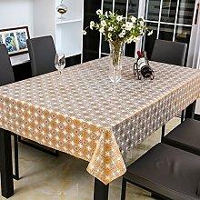 Tabgw Rectangular Tischdecke Esszimmer Garten Hotel Cafe Restaurant PVC wasserdicht Kunststoff Orange 136x220 cm Heimzubehör