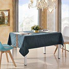 Tabgw Rectangular Tischdecke Esszimmer Garten Hotel Cafe Restaurant Tuch dicke quadratische Spitze blau 130x180 cm Heimzubehör