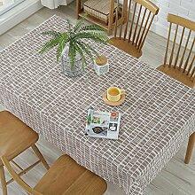 Tabgw Rectangular Tischdecke Esszimmer Garten Hotel Cafe Restaurant Wasserdichte Baumwolle und Leinen graue streifen 140x200cm