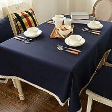 Tabgw Rectangular Tischdecke Esszimmer Garten Hotel Cafe Restaurant Baumwolle Hochzeit decken Tuch Blau 90cmx90cm Heimzubehör