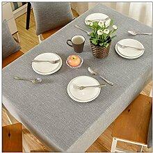 Tabgw Rectangular Tischdecke Esszimmer Garten Hotel Cafe Restaurant Farbe Baumwolle grau 130x220 cm Heimzubehör