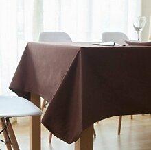 Tabgw Rectangular Tischdecke Esszimmer Garten Hotel Cafe Restaurant Farbe Tischdecke aus Baumwolle dick Braun 140x140 cm Heimzubehör