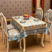 Tabgw Rectangular Tischdecke Esszimmer Garten Hotel Cafe Restaurant Rutschfeste Stoff decken Tuch blau 140x180 cm Heimzubehör
