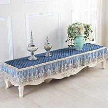 Tabgw Rectangular Tischdecke Esszimmer Garten Hotel Cafe Restaurant Dicker Tabelle Rutschfeste decken Tuch Blau 45x180 cm Heimzubehör