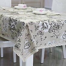 Tabgw Rectangular Tischdecke Esszimmer Garten Hotel Cafe Restaurant PVC transparent grau Blume 80x135 cm Heimzubehör