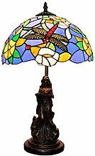Table Lamp Mittelmeerblau Libelle Glas Tischlampe