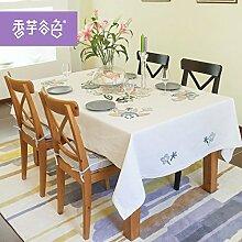 Tablecloth-Mode kleine runde Tischdecke Tischdecke, pastorale Stickerei Gewebe lange Tischdecke, single, A, 160