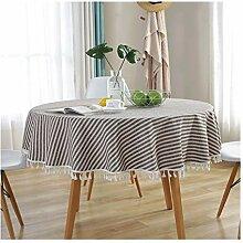 Tablecloth Runde gestreifte Tischdecke mit Fransen