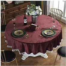 Tablecloth Runde Tischdecke mit Fransen - Tischset