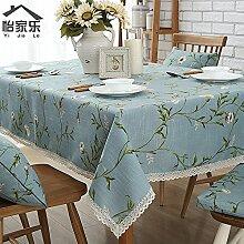 Tablecloth-Stilvolle einfache Europäische Baumwolle retro Rechteckige Tischdecke, Tischdecke Tischdecke, einteilig, A, 140
