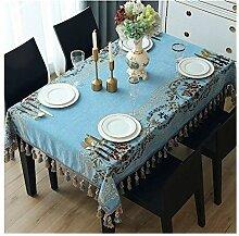 Tablecloth WHQ Rechteckige Tischdecke mit Fransen
