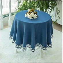 Tablecloth WHQ Runde Tischdecke - Baumwollleinen