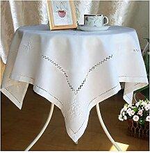 Tablecloth WHQ Runde Tischdecke bestickte weiße