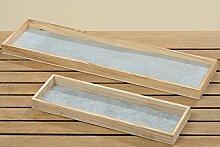 Tablett Dekotablett Kerzentablett mit Sterne Holz Metall grau 2er Se
