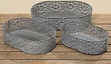 Tablett Dekotablett Metall grau Kerzentablett Korb