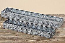 Tablett Kerzentablett Blumentablett Dekotablett grau Metall Holz 2er Se