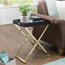 Tabletttisch in Schwarz und Goldfarben klappbar