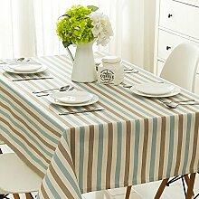 Taboeoe Edle Bettwäsche Heimtextilien Lange Runden Tisch Wasserdicht Tuch Wasserdicht Blau Nadelstreifen Weiße Tischdecke 110*170 Cm