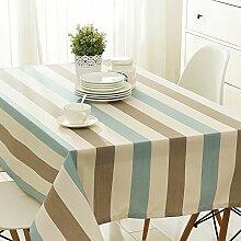 Taboeoe Edle Bettwäsche Heimtextilien Lange Runden Tisch Wasserdicht Tuch Wasserdicht Blau Streifen Weiße Tischdecke 140 * 200 Cm.