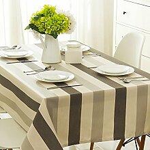 Taboeoe Edle Bettwäsche Heimtextilien Lange Runden Tisch Wasserdicht Tuch Wasserdicht Schwarz Und Weiß Groß Gestreift Tischdecke 140 * 140 Cm