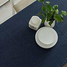 Taboeoe Einfache Moderne Baumwolle Tischtuch Wasserdichtes Durchgezogene Rechteck Tibet Marine 130 * 350 Cm